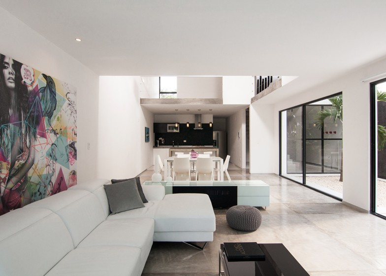Minimalist house with two floors, simple facade design and chord colors 6