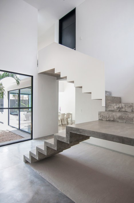 Minimalist house with two floors, simple facade design and chord colors 8