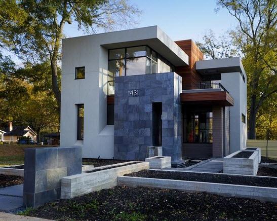 Fachadas de piedra en casas diseño moderno 4