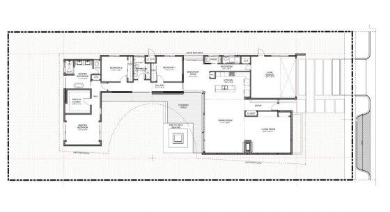 Casa moderna de un piso con estructura de hormig n y - Diseno patio interior ...