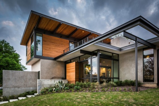 Planos de casa de dos pisos con fachada de madera y acero - Casas de madera y hormigon ...