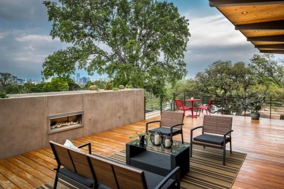 Planos de casa de dos pisos con fachada de madera y acero - Piso madera terraza ...
