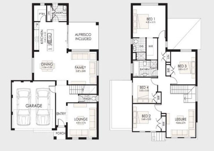 Parte 1 fachadas y planos de casas modernas mundo fachadas for Planta de casa de dos pisos