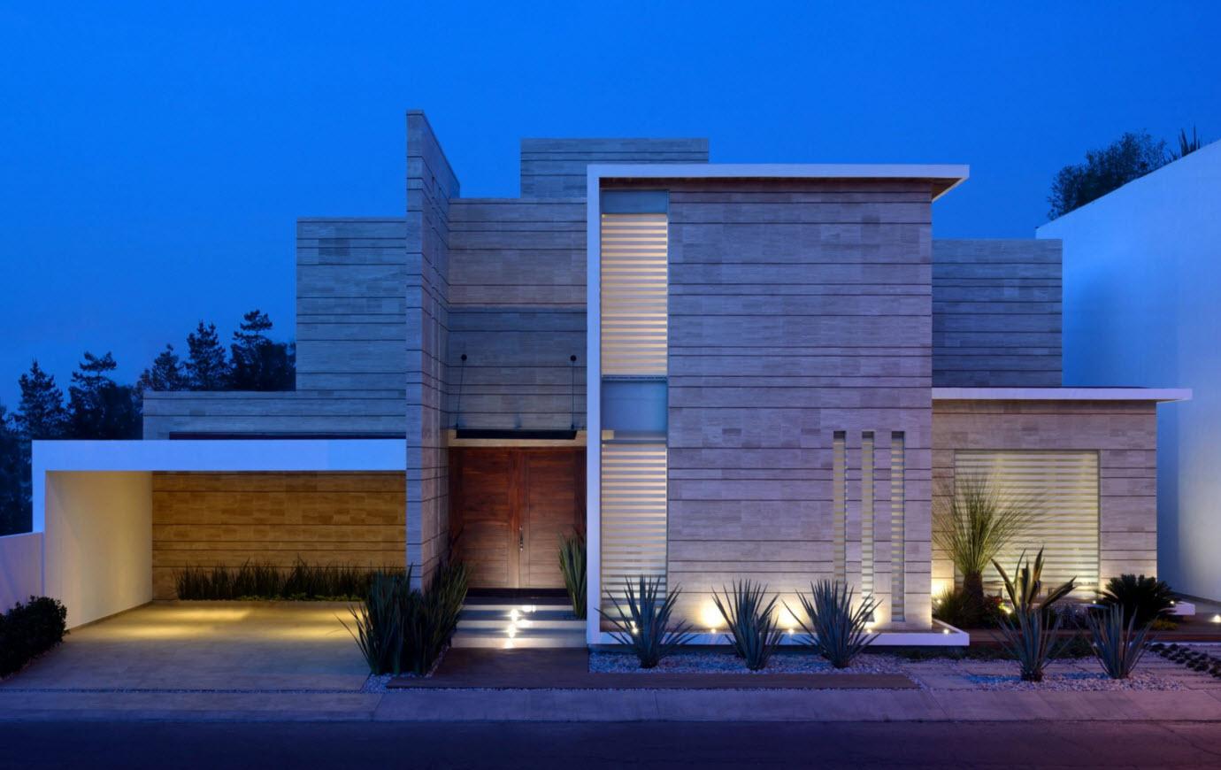 Dise os de fachadas de casas de una y dos plantas nos for Plantas minimalistas para exteriores
