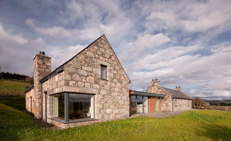 Fachadas de casas de piedra natural el exterior tambi n Casas modernas americanas