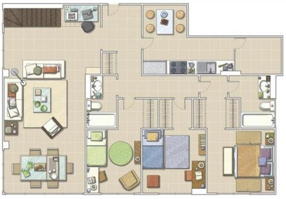 Planos de departamentos grandes no te pierdas los croquis for Planos de apartamentos modernos