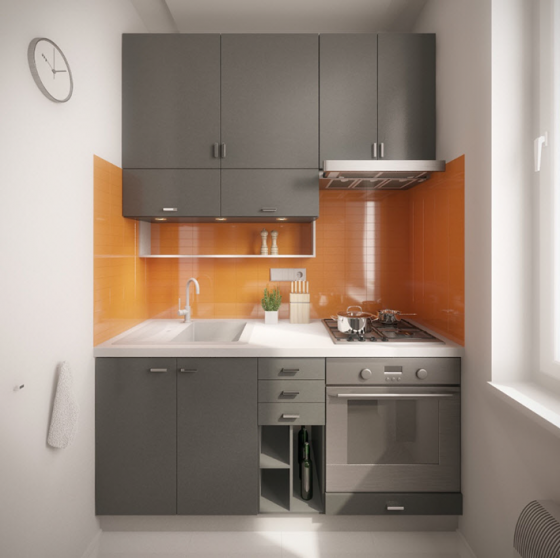 Diseño de cocinas de tamaño pequeño con distribución lineal y en ...