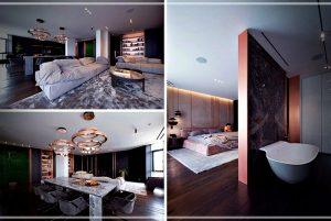 Interior de estilo contemporáneo con sutiles acentos de cobre suave